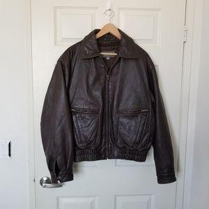 Men's Wilsons Heavy Brown Leather Bomber Jacket L